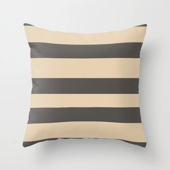 Brown and Tan Wide Horizontal Line Pattern Throw Pillows match and coordinate with Sherwin Williams Paints 2021 Color of the Year Urbane Bronze and Ivoire