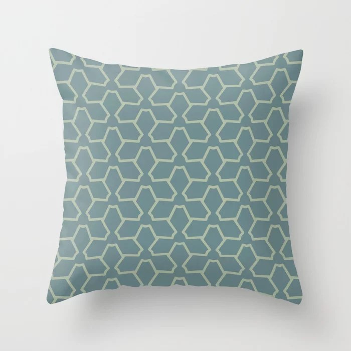 Blue-Green Green Line Pattern 12 Abstract Flower 2021 Color of the Year Aegean Teal Salisbury Green Throw Pillow