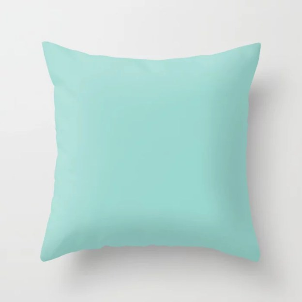 Sherwin Williams Trending Colors of 2019   From Shapeshifter Palette: Blue Sky Pastel Aqua Blue SW 0063 Solid Color Throw Pillows and Outdoor Patio Pillows
