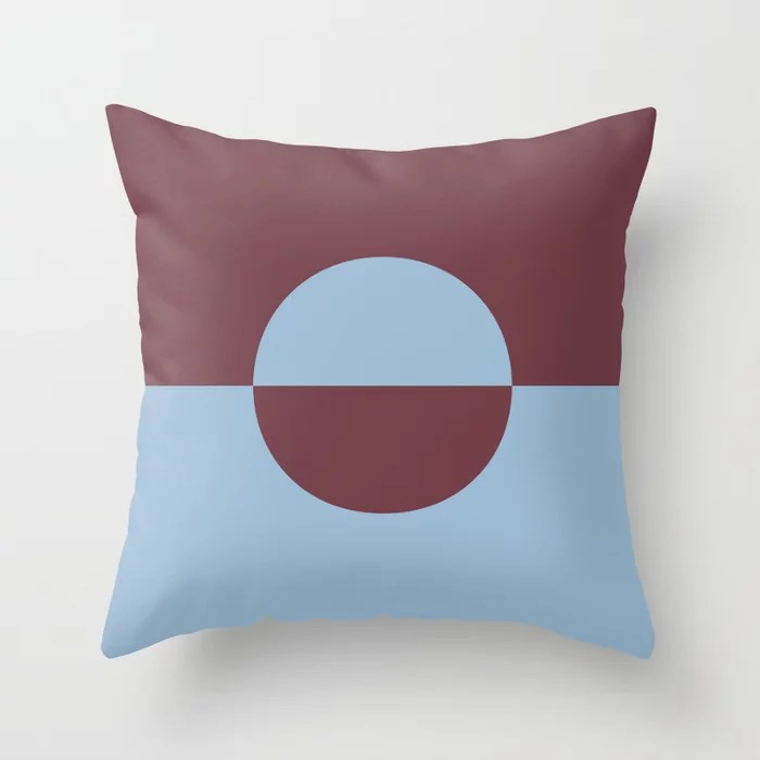 Pastel Blue and Burgundy Minimal Circle Design 2 Throw Pillows inspired by and pairs to (matches / coordinates with) Dutch Boy 2021 Color of the Year Earth's Harmony and Mulberry Tree