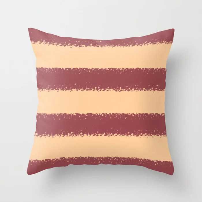 Red and Peach Minimal Stripe Pattern Pairs HGTV 2021 Color of the Year Passionate Throw Pillow