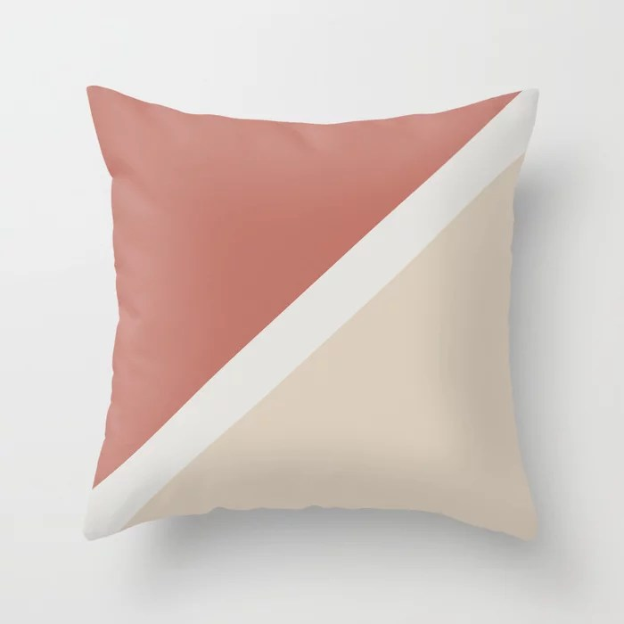 Light Beige White Dark Peach Minimal Stripe Design: Hues were inspired by and match (pair / coordinate with) 2021 Color of the Year Uptown Ecru & Accent Shade Throw Pillow