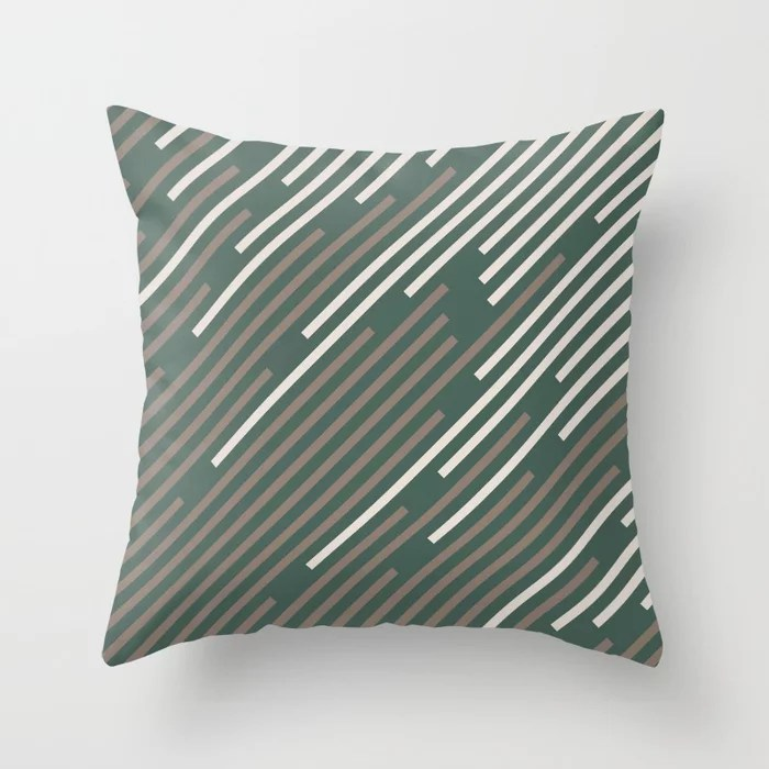 Dark Green Mid-tone Brown Creamy Off White Stripes 2021 Color of The Year Canyon Dusk Accent Shades Throw Pillow