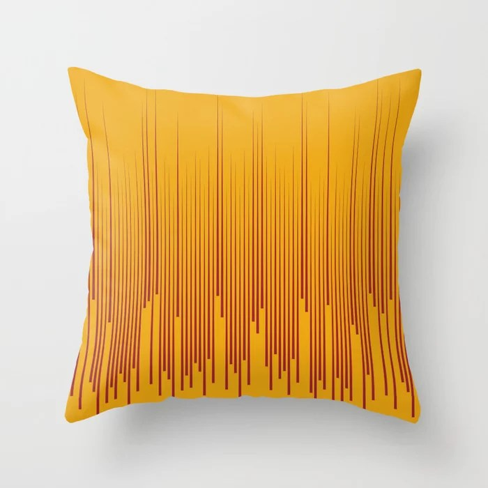 Red and Orange Minimal Frequency Line Art Pattern 2021 Color of the Year Satin Paprika Harvest Peach Throw Pillow