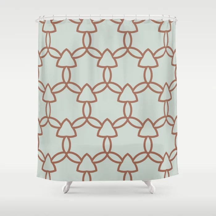 Mint Green and Terracotta Tessellation Pattern 29 Behr 2022 Color of the Year Breezeway MQ3-21 Shower Curtain. 2022 color trend