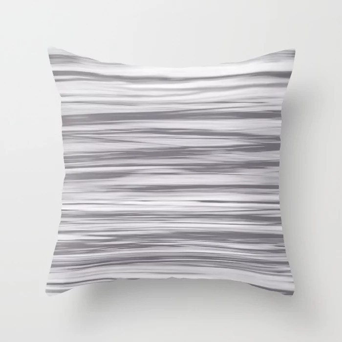 Gray and White Stripes Watercolor Blend - Good Gray Throw Pillow