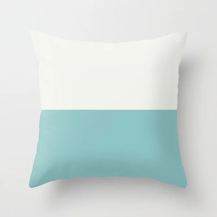 Aqua and White Horizontal Stripe Line Pattern Color of the Year Aqua Fiesta and Delicate White Throw Pillow