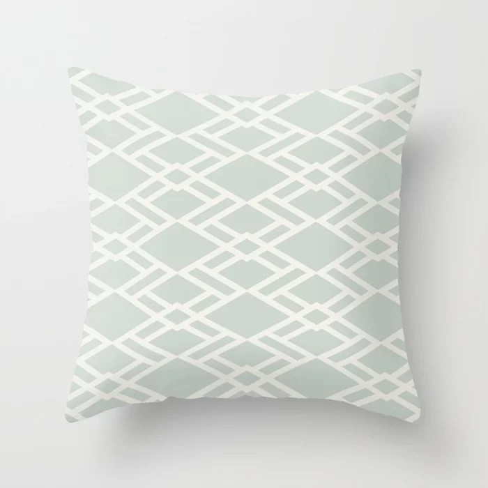 Pastel Green and Cream Diamond Tile Pattern Pairs Behr 2022 Color of the Year Breezeway MQ3-21 Throw Pillow. 2022 color scheme, trending interior design hue.