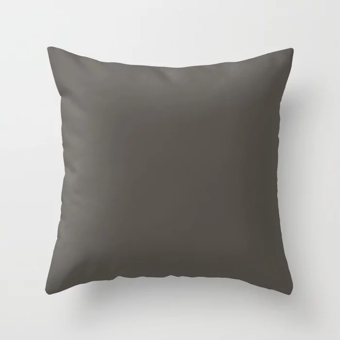 Root Brown Grey Solid Color Throw Pillow Matches Sherwin Williams 2021 Color of the Year Urbane Bronze SW 7048