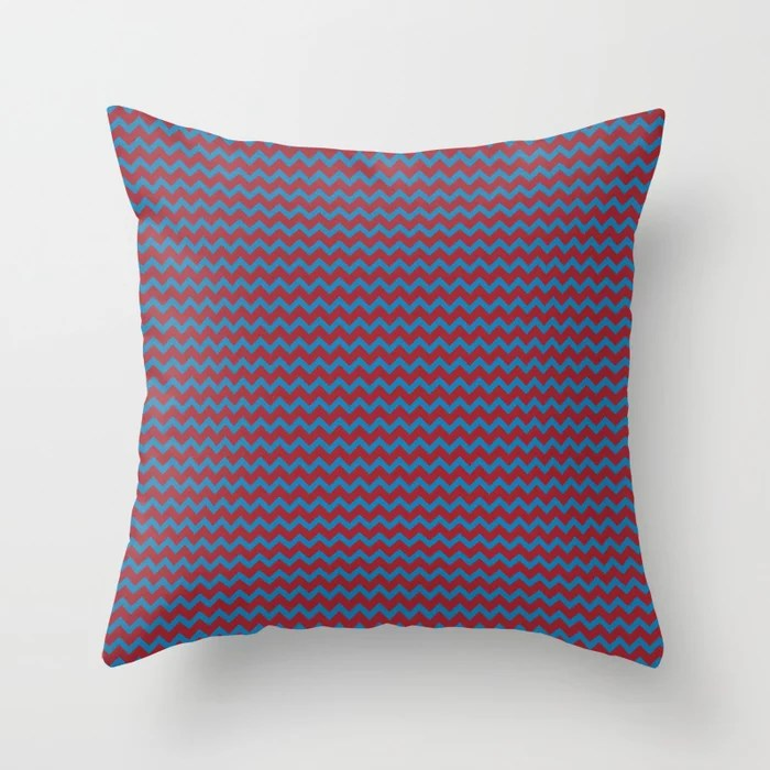 Red and Blue Chevron Pattern 2021 Color of the Year Satin Paprika and Satin Lagoon Throw Pillow