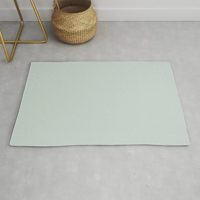 Pastel Green Solid Color throw and area rugs Pairs Behr 2022 Color of the Year Breezeway MQ3-21. 2022 color scheme, trending interior design hue.