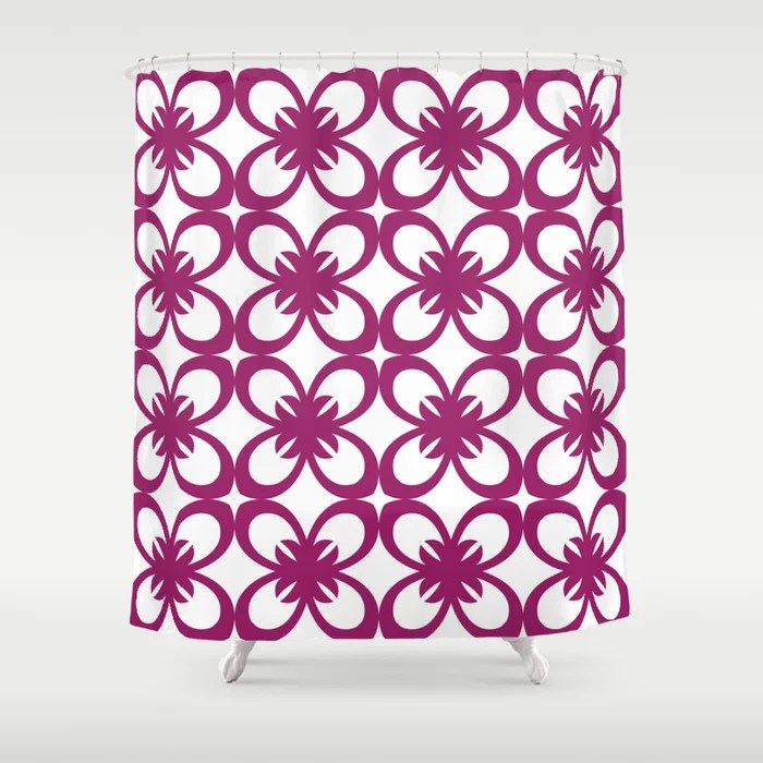 Magenta and White Minimal Floral Flower Pattern - Colour of the Year 2022 Orchid Flower 150-38-31 Shower Curtain - 2022 colour trends interior decorating fuchsia - purple - pink