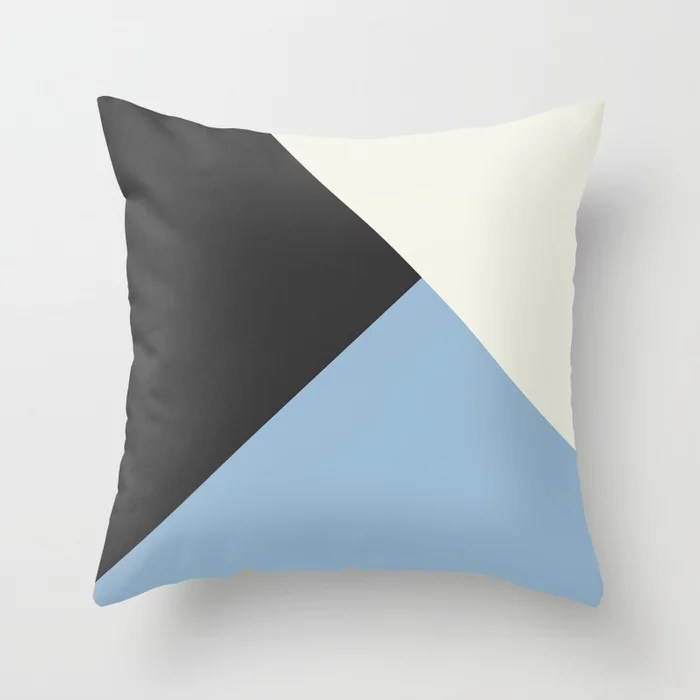 Pastel Blue Off White Black Solid Color Shapes Throw Pillows inspired by and pairs to (matches / coordinates with) Dutch Boy 2021 Color of the Year Earth's Harmony & Accents