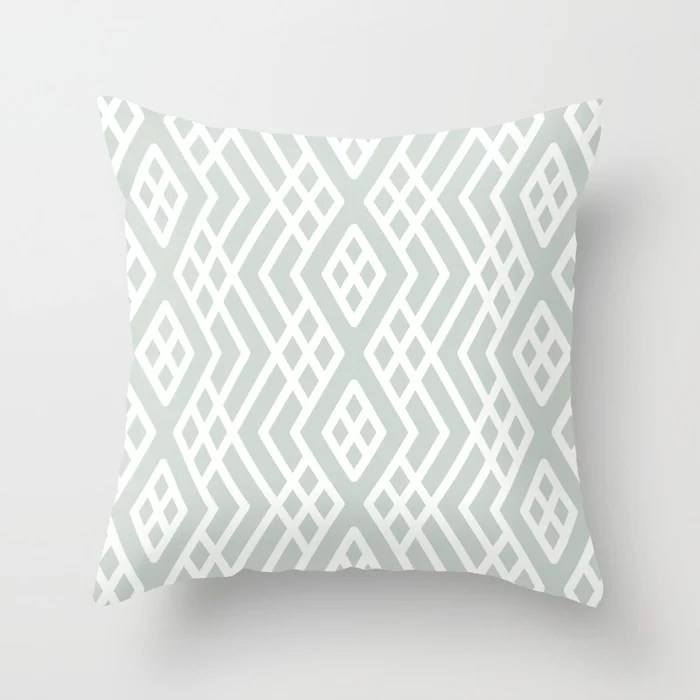 Pastel Green and White Shape Mosaic Pattern 3 Pairs Behr 2022 Color of the Year Breezeway MQ3-21 Throw Pillow. 2022 color scheme, trending interior design hue.
