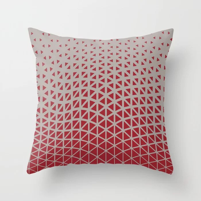 Red and Gray Geometric Wave Pattern 2021 Color of the Year Satin Paprika and Satin Driftwood Throw Pillow