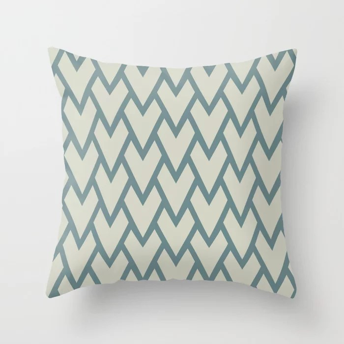 Soft Aqua Blue Beige Tessellation Line Pattern 17 2021 Color of the Year Aegean Teal and Sweet Spring Throw Pillow
