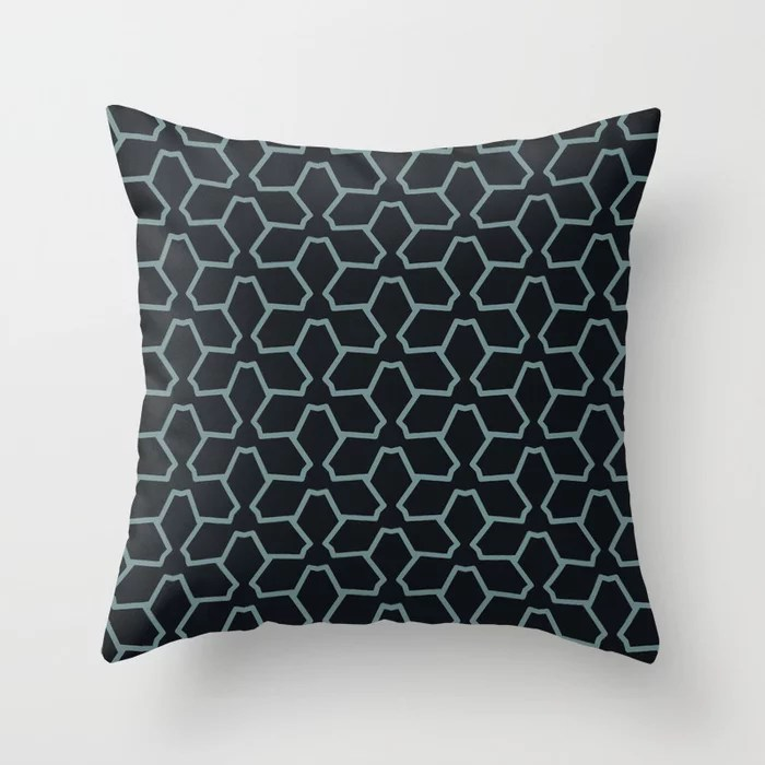 Blue-Green Black Line Pattern 12 Abstract Flower 2 2021 Color of the Year Aegean Teal and Jet Black Throw Pillow