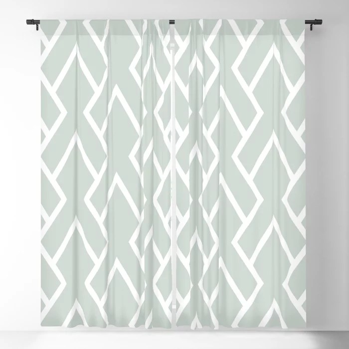 Mint Green and White Tessellation Line Pattern 6 Behr 2022 Color of the Year Breezeway MQ3-21 Blackout Curtain. Decorating colors for 2022
