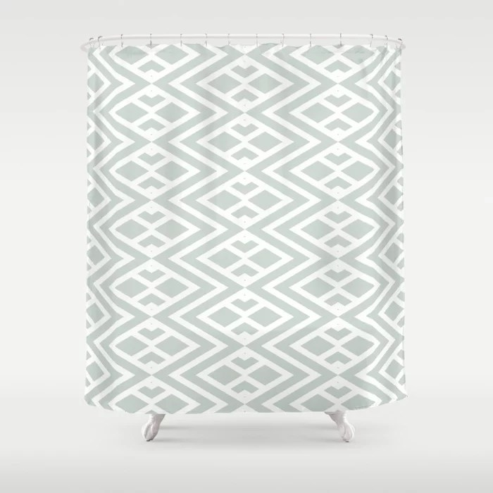 Pastel Green and White Minimal Diamond Pattern Pairs Behr 2022 Color of the Year Breezeway MQ3-21 Shower Curtain. 2022 color trend