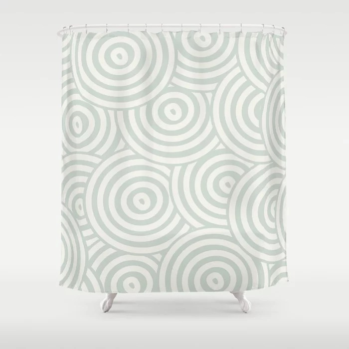 Pastel Green and Cream Hypnotic Circle Pattern Pairs Behr 2022 Color of the Year Breezeway MQ3-21 Shower Curtain. 2022 color trend