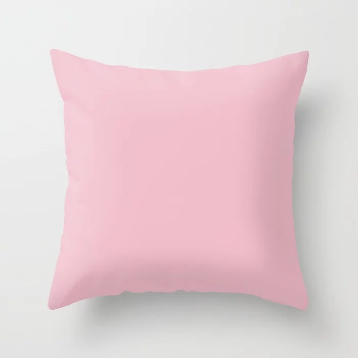 Lulling Pastel Pink Solid Color Pairs To Sherwin Williams In the Pink SW 6583 Throw Pillow