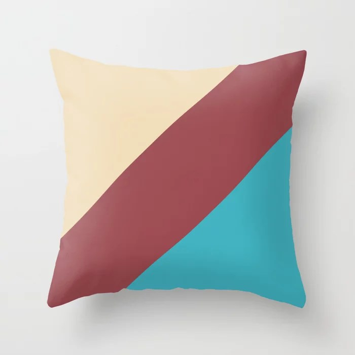 Red Cream Aqua Blue Abstract Line Pattern Pairs HGTV 2021 Color of the Year Passionate Throw Pillow