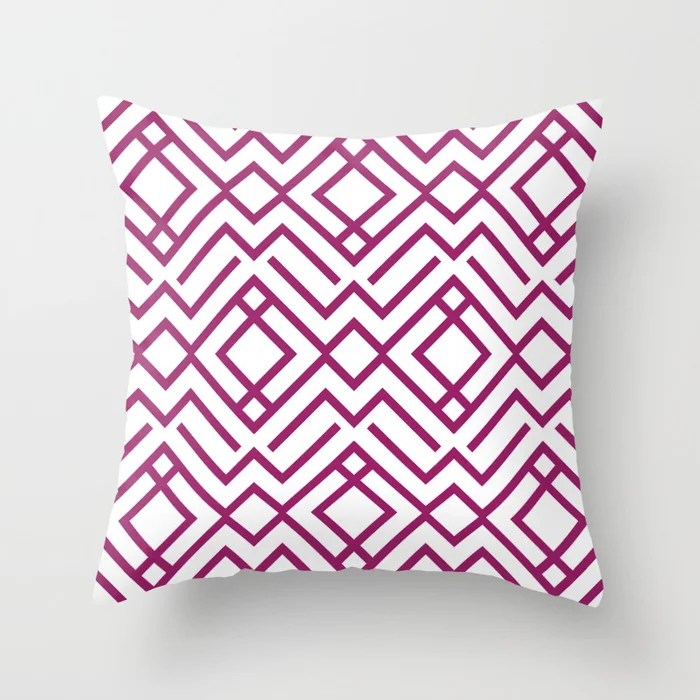 Magenta and White Chevron Stripe Pattern - Colour of the Year 2022 Orchid Flower 150-38-31 Throw Pillow