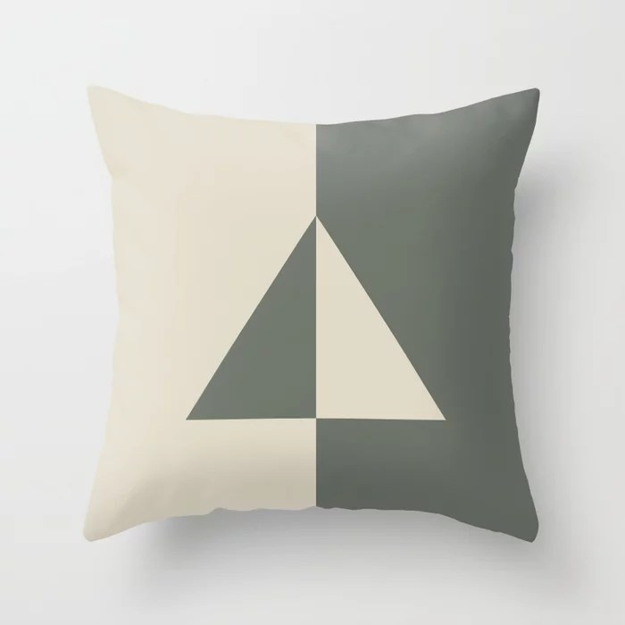 Green Buff Tan Minimal Triangle Design 2021 Color of the Year Contemplative Bleached Pebble Throw Pillow