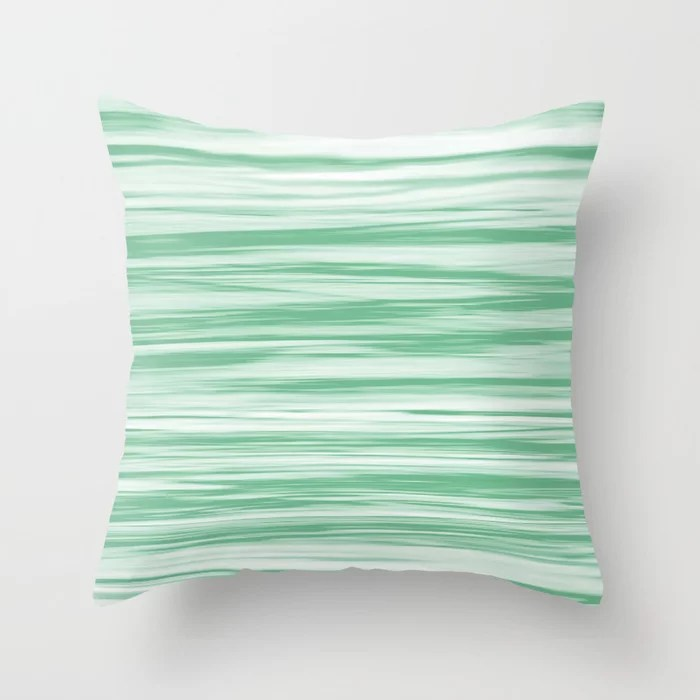 Green and White Stripes Watercolor Blend 2021 - Quiet Wave Throw Pillow