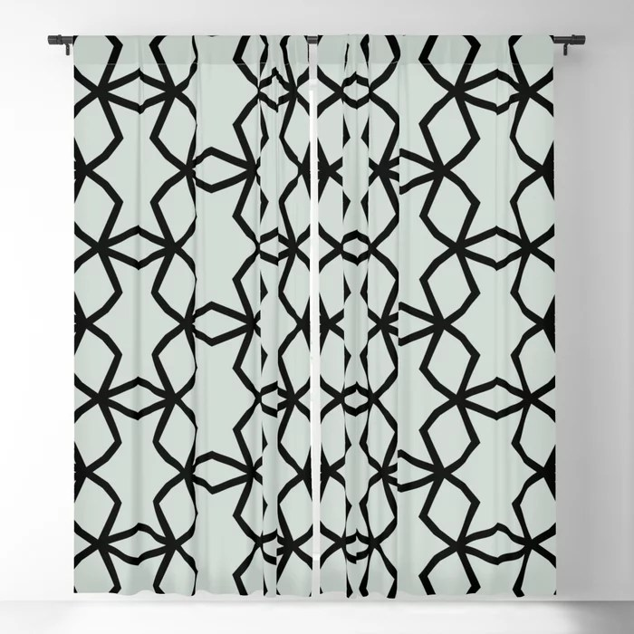 Pastel Green and Black Shape Mosaic Pattern Pairs Behr 2022 Color of the Year Breezeway MQ3-21 Blackout Curtain. Decorating colors for 2022