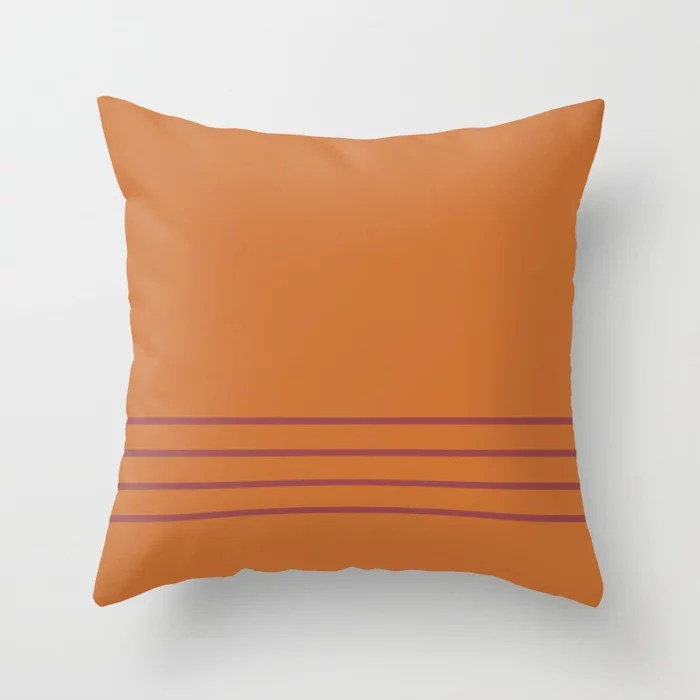 Red and Orange Minimal Thin Line Pattern 2021 Color of the Year Passionate and Copper Kettle Throw Pillow