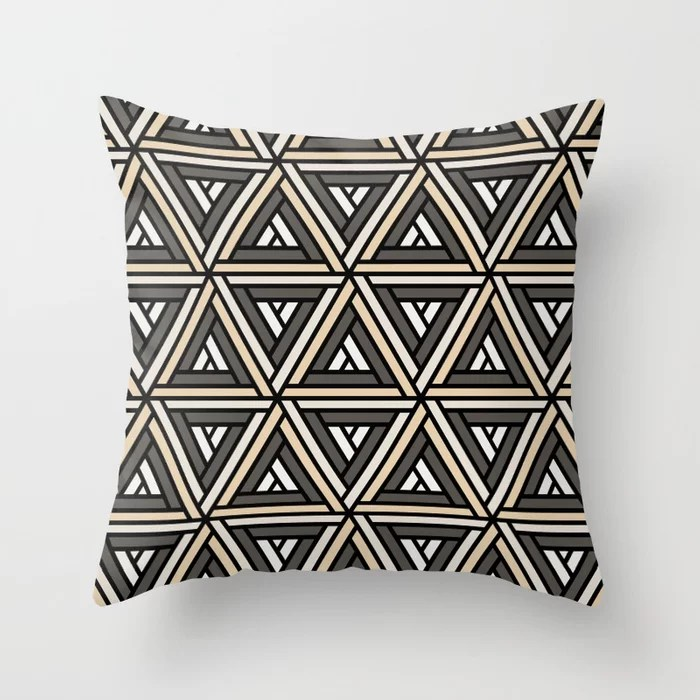 Earthy Abstract Geometric Shape Pattern 2 v2 Throw Pillow Matches Sherwin Williams Paints 2021 Color of the Year Urbane Bronze and Accent Shades