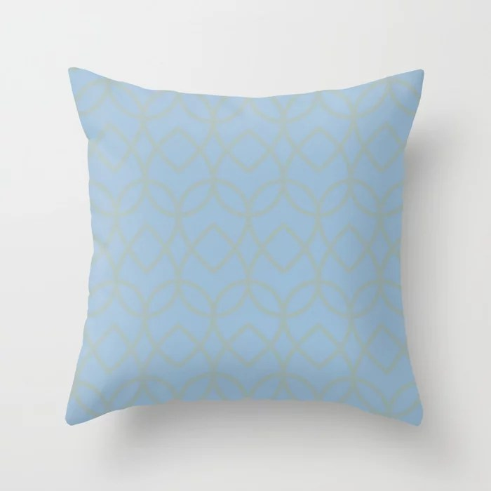 Pastel Blue and Light Aqua Geometric Pattern Teardrop Throw Pillows inspired by and pairs to (matches / coordinates with) Dutch Boy 2021 Color of the Year Earth's Harmony and Grayed Aqua