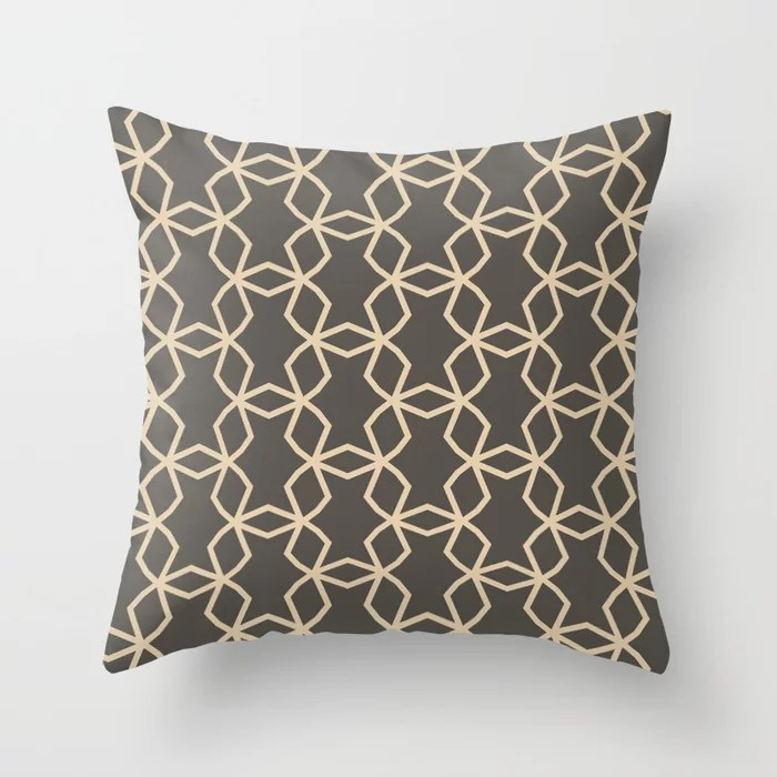 Brown And Buff Beige Abstract Shape Pattern V2 Throw Pillow Matches Sherwin Williams Paints 2021 Color of the Year Urbane Bronze and Ivoire