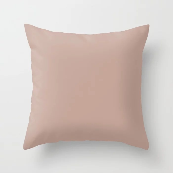 Hushed Light Pastel Pink Solid Color Accent Shade Matches Sherwin Williams Sandbank SW 6052 Throw Pillow