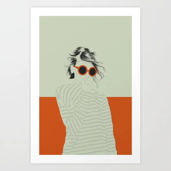 Sunday's Society6 | Color block drawing woman sunglasses art print
