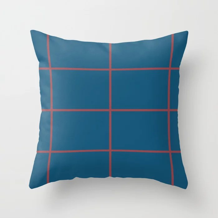 Red and Dark Blue Abstract Check Line Pattern Pairs HGTV 2021 Color of the Year Passionate Throw Pillow