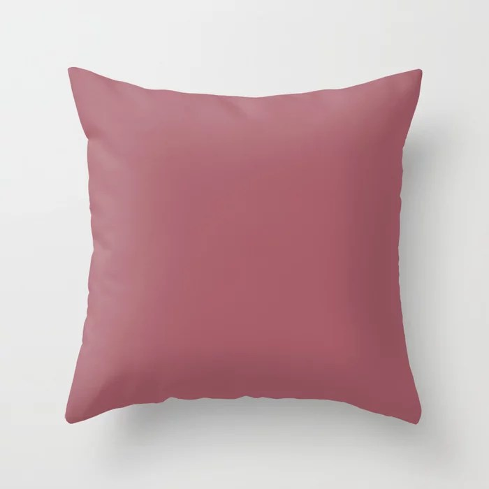 Solid Color - Pantone Mauvewood 17-1522 Pink Throw Pillow