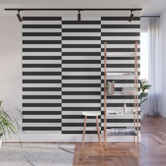 Ikea Stockholm Rug Pattern Black Stripe Black Wall Mural By Dizzymoments Society6