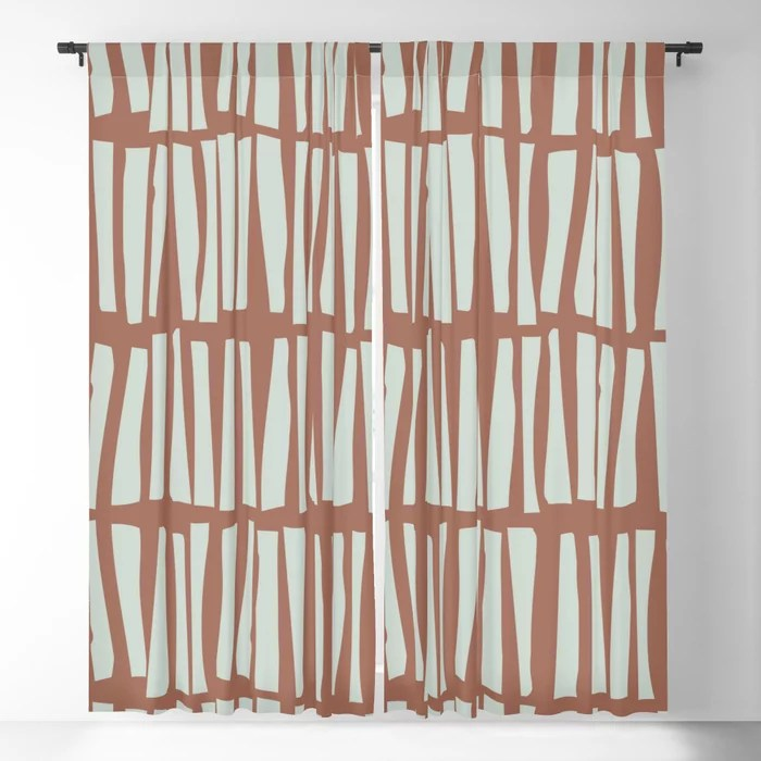Mint Green and Terracotta Stripe Line Pattern Behr 2022 Color of the Year Breezeway MQ3-21 Blackout Curtain. Spring/Summer 2022 color forecast