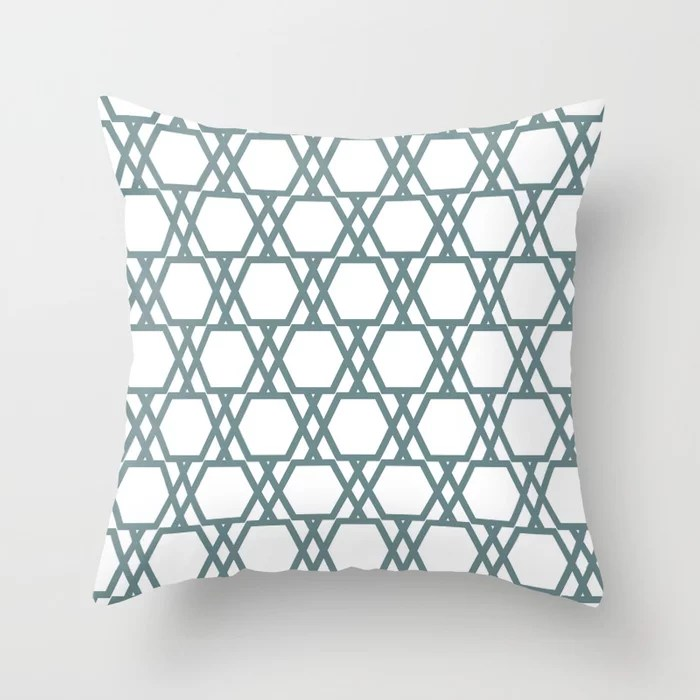 Soft Aqua Blue White Tessellation Line Pattern 20 2021 Color of the Year Aegean Teal Throw Pillow