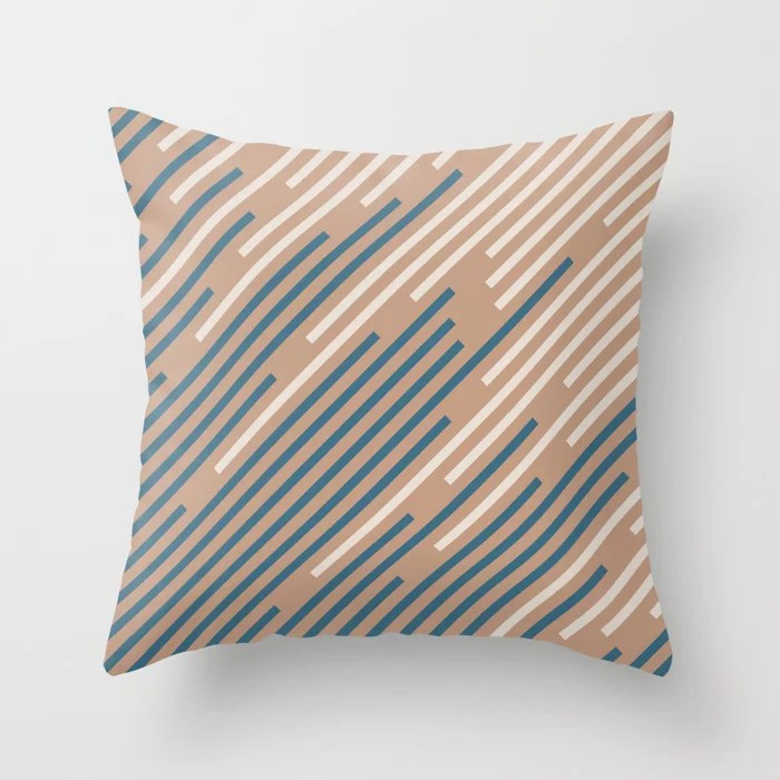 Sandstorm Beige Dark Blue Creamy Off White Lines 2021 Color of The Year Canyon Dusk Accent Shades Throw Pillow