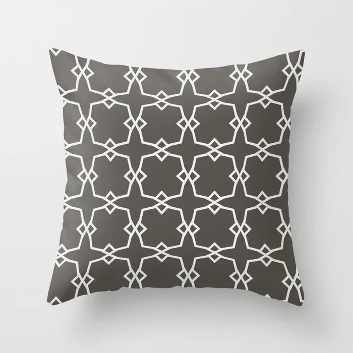 Dark Brown Off-White Tessellation Line Pattern 30 2021 Color of the Year Urbane Bronze & Extra White Throw Pillow