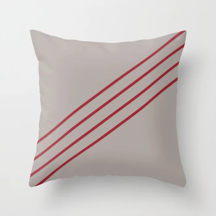 Grey and Red Angled 4 Stripe Pattern 2021 Color of the Year Satin Paprika and Satin Driftwood Throw Pillow