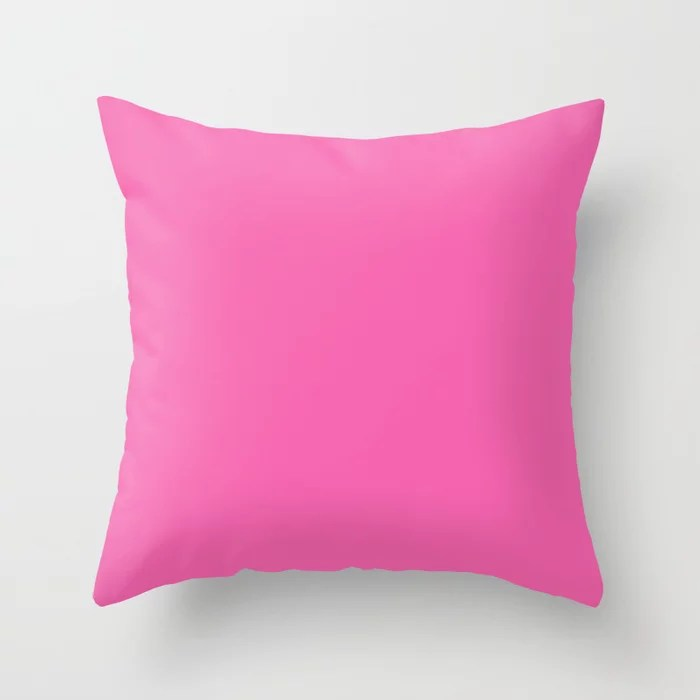 From The Crayon Box – Wild Strawberry - Bright Pink Solid Color Throw Pillow
