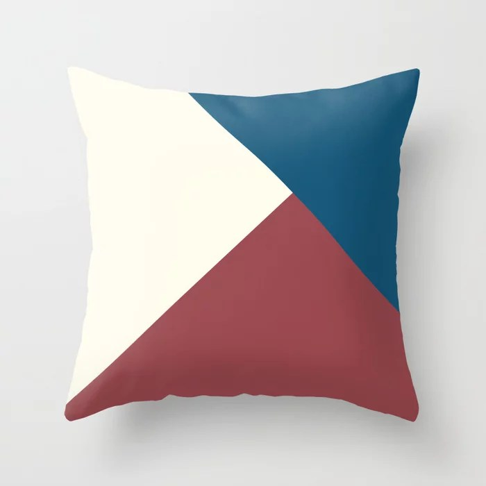 Red Off White Blue Solid Color Abstract Design Pairs HGTV 2021 Color of the Year Passionate Throw Pillow