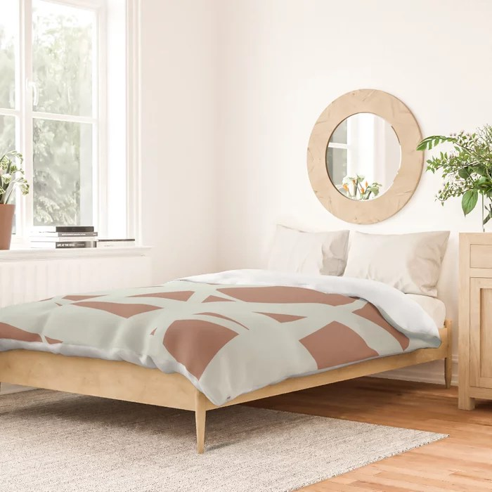 Pastel Green and Clay Abstract Mosaic Pattern 3 Pairs Behr 2022 Color of the Year Breezeway MQ3-21 Duvet Cover. 2022 colour trend