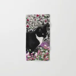 Freckles in Flowers II - Tuxedo Kitty Cat Hand & Bath Towel