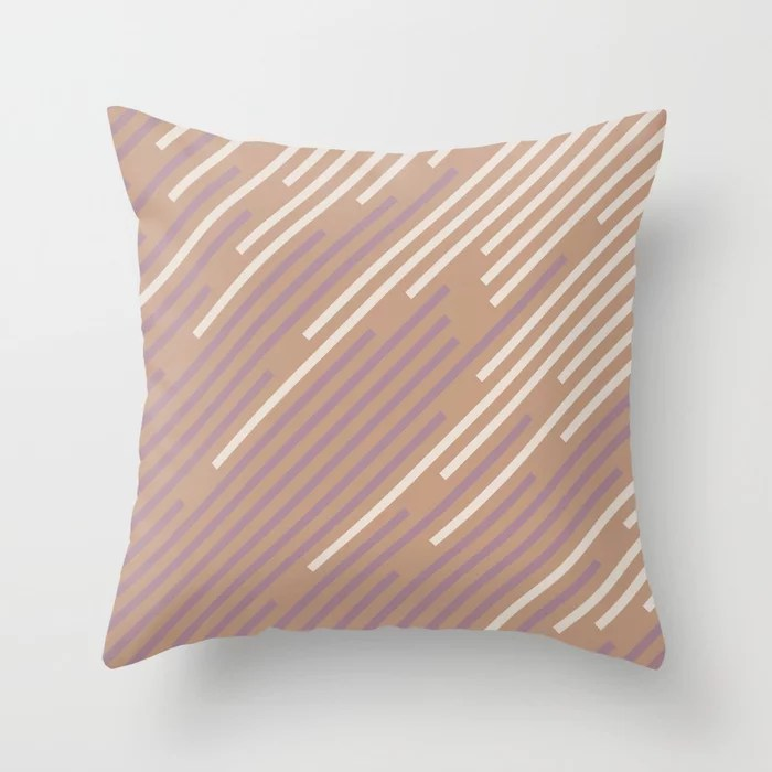 Sand Storm Beige Pastel Purple Pink Off White 2021 Color of The Year Canyon Dusk Accent Shades Throw Pillow