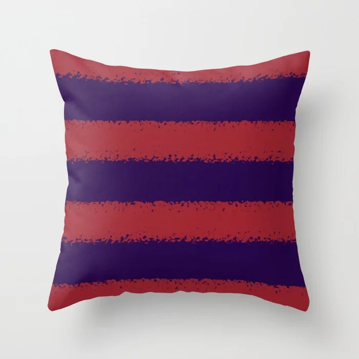 Red and Purple Minimal Sponge Stripe Pattern 2021 Color of the Year Satin Paprika and Purple Throw Pillow